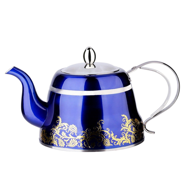 Blue Tea Pot with Infuser Loose Tea